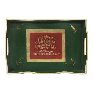 Vintage English Green Rectangular Wooden Tray