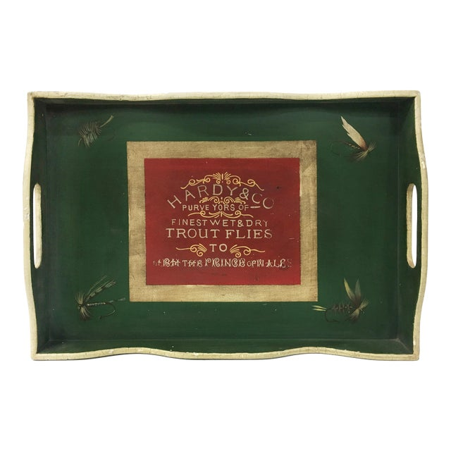 Vintage English Green Rectangular Wooden Tray For Sale