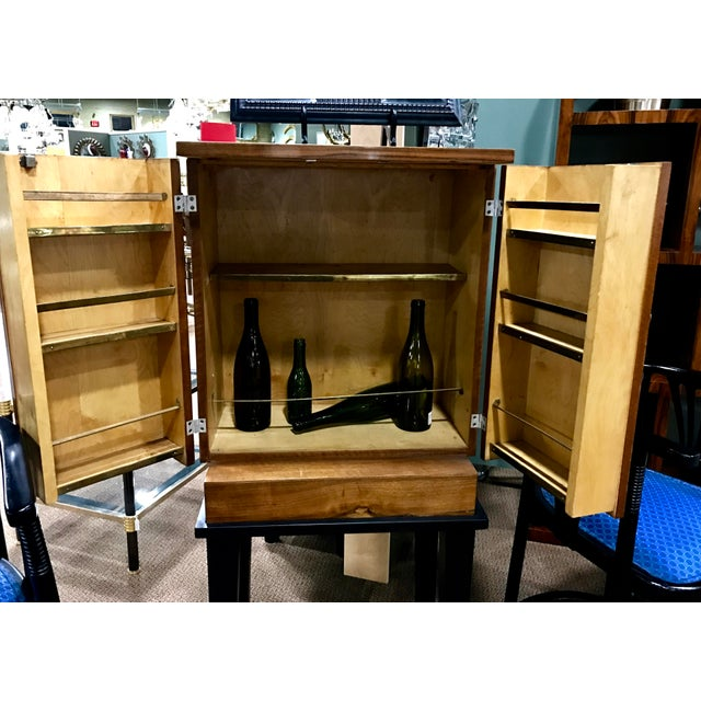 Art Deco Wooden Cabinet on Metal Stand - Image 5 of 9