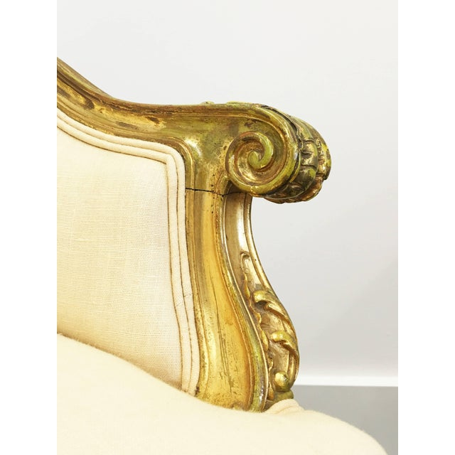 Pair of 19th Century Louis XV Giltwood Bergères For Sale - Image 4 of 8