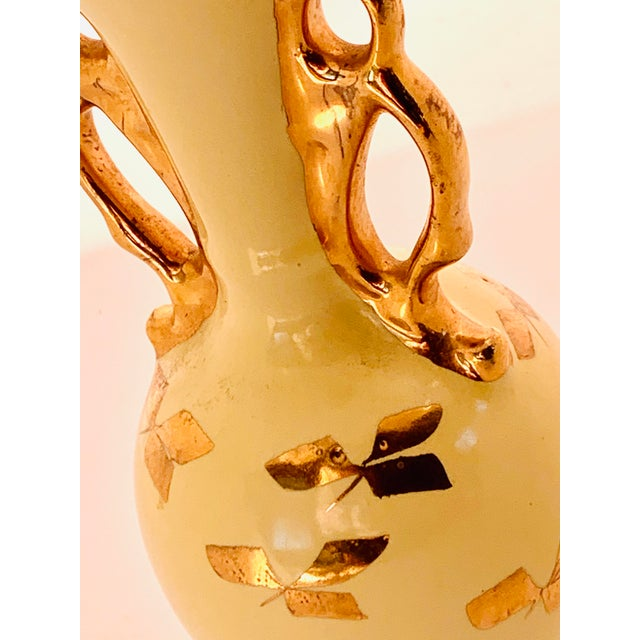 Vintage Yellow Porcelain Bud Vase With 22 Karat Gold Accents For Sale - Image 4 of 11