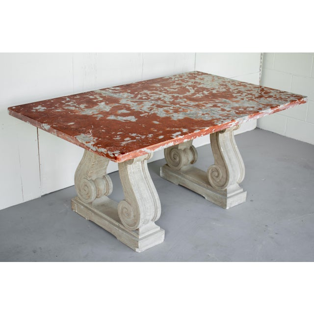 Vintage Mid Century French Marble-Top Center Table For Sale - Image 12 of 12