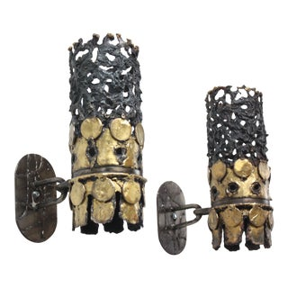 1960s Brutalist Torch-Cut Steel and Brass Wall Sconces - a Pair For Sale