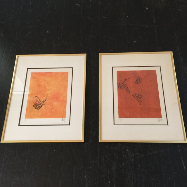 """""""Butterfly"""" Orange & Red Serigraphs - A Pair For Sale - Image 11 of 11"""