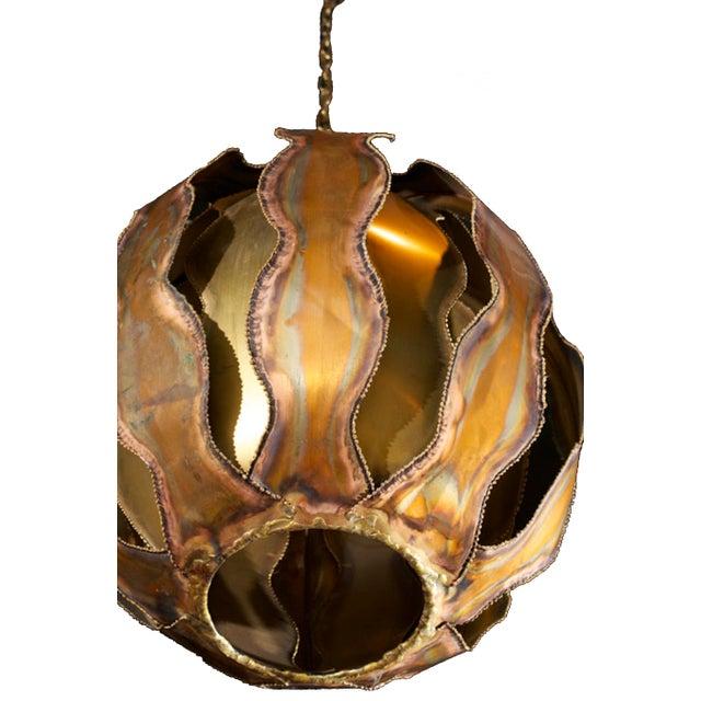 1970s Brutalist Burnished Metal Pendant Light - Image 2 of 6