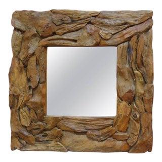 Organic Modern Driftwood Mirror For Sale