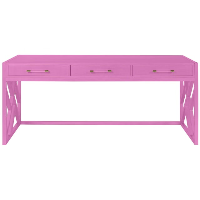 Transitional Casa Cosima CeCe Desk with Wood Fretwork Base, Lilac Pink For Sale - Image 3 of 3