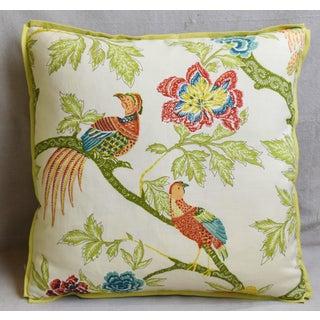 "Schumacher Chinoiserie Linen & Mohair Bird Feather/Down Pillow 21"" Square Preview"
