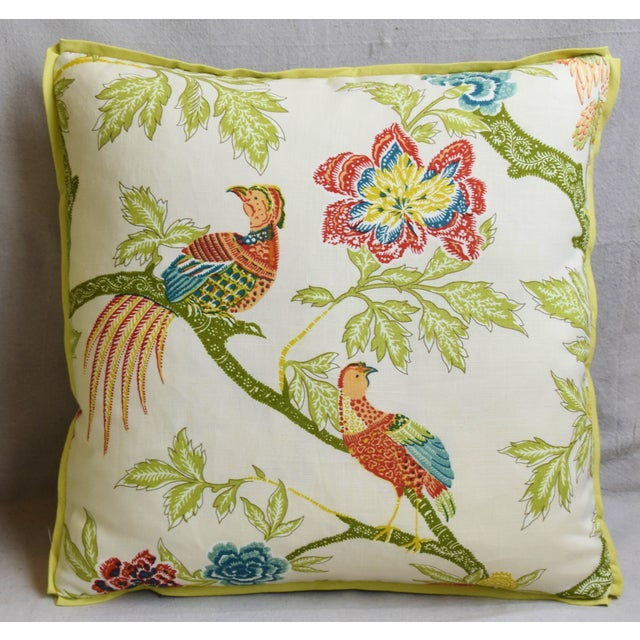 """Custom-tailored pillow in Schumacher printed linen fabric called """"Arbre Chinois Meadow"""" depicting a beautiful floral and..."""