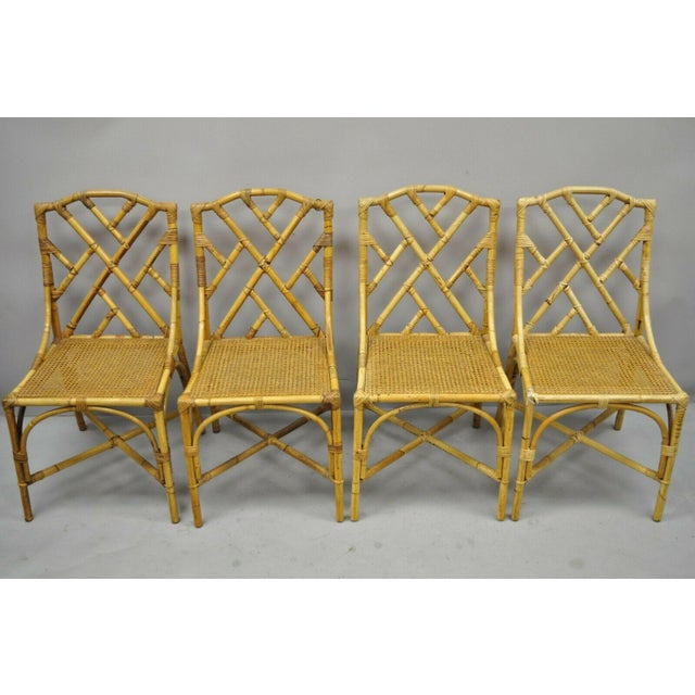 Chinese Chippendale Boho Chic Bamboo Rattan Faux Bamboo Dining Set - 5 Pieces For Sale - Image 4 of 13