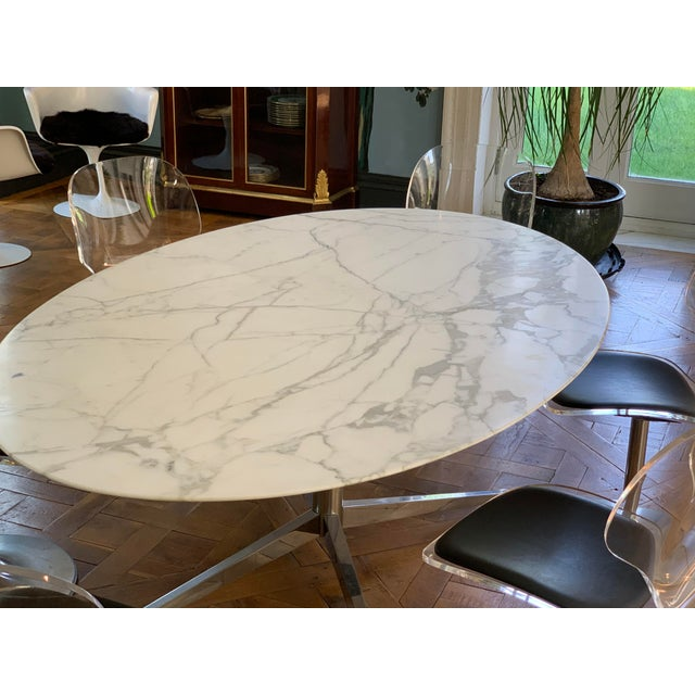 Oval Knoll Marble Top Dining Table For Sale - Image 11 of 13