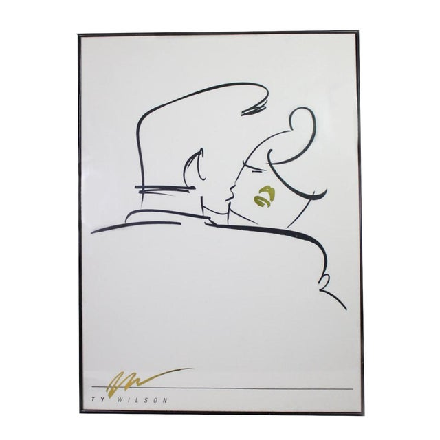 """1980's Post-Modern Abstract Line Art """"Embrace"""" by Ty Wilson Print in Black, White, Gold - Framed For Sale - Image 4 of 4"""