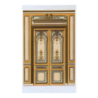 1870's French Hotel Rue Blanche Architectural Ornament Lithograph For Sale