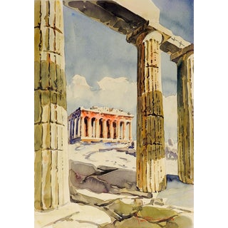 Greek Ruins Watercolor Painting For Sale