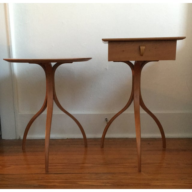 These are matching end tables by the designer Thomas Stender for the brand Modulus. The square table has minor wear on the...