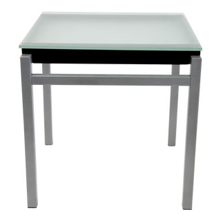 Industrial Frosted Glass Top Side Table