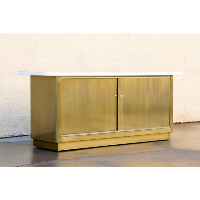 Industrial Custom Tanker Style Steel Credenza in Brass and White Finish For Sale - Image 3 of 7