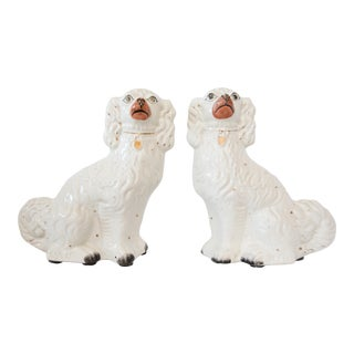 Large Antique English Staffordshire Spaniel Dogs - a Pair For Sale