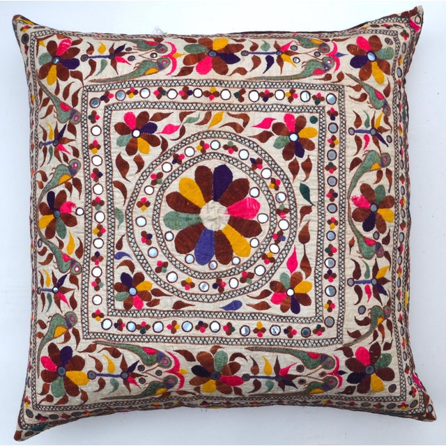 Large Vintage Indian Embroidered Textile Pillow For Sale - Image 4 of 4