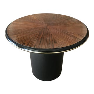 Vintage Rosewood Pedestal Coffee Table Marquetry For Sale