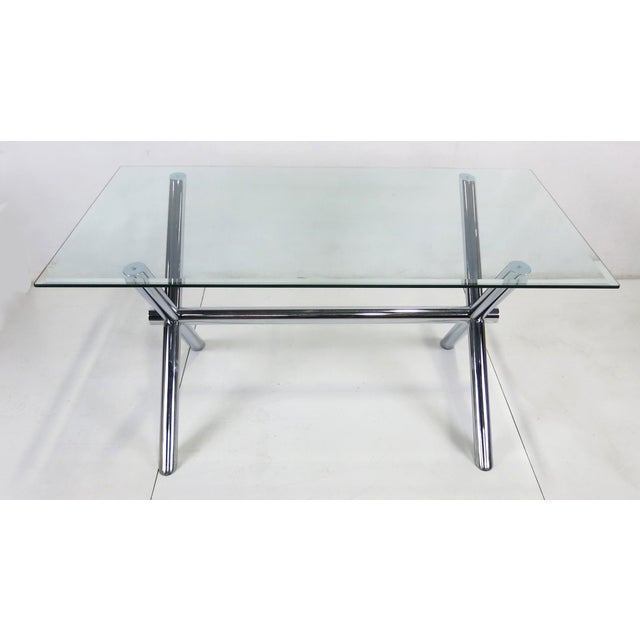 Italian Chrome X-Base Trestle Dining Table or Writing Desk For Sale - Image 4 of 5