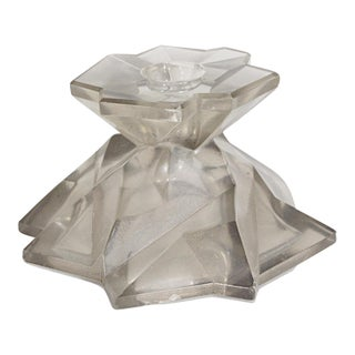 Rare Ruba Rombic Art Deco Silver Glass Candleholder For Sale
