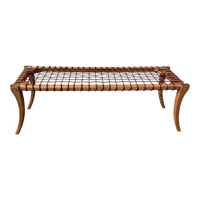 2010s Modern Mid Century Klismos Bench For Sale - Image 5 of 5