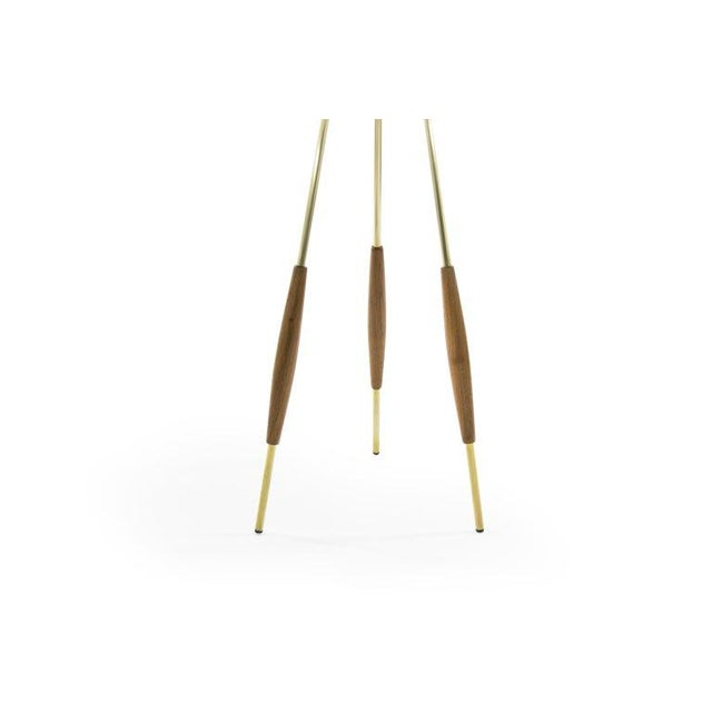 Mid 20th Century Brass and Walnut Tripod Floor Lamps by Gerald Thurston, 1960s - a Pair For Sale - Image 5 of 11