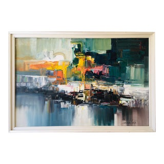 Mid Century Abstract Oil Painting on Canvas For Sale
