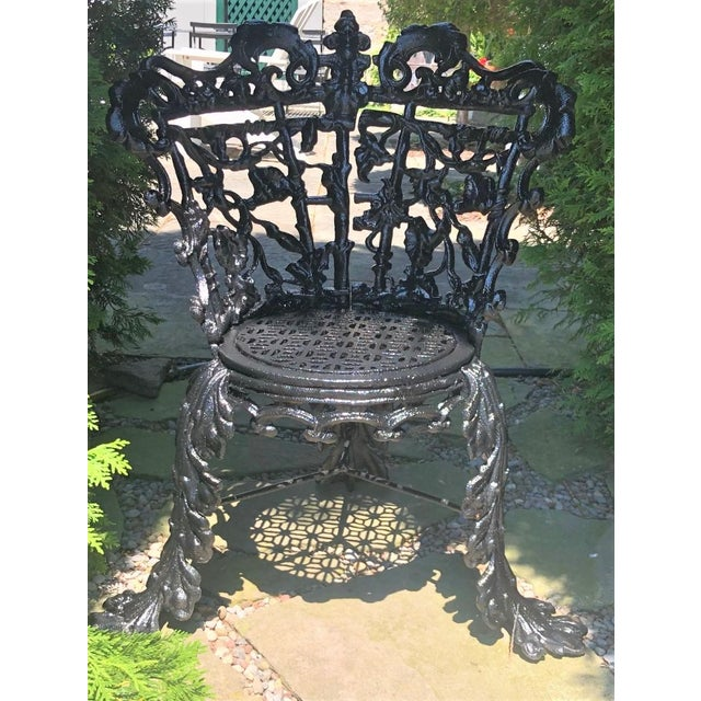 Antique Garden Chair Cast Iron in the Morning Glory Pattern For Sale - Image 6 of 13