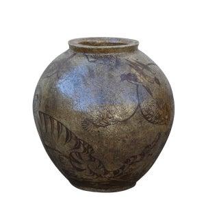Chinese Handmade Ceramic Brown Black Motif Jar Vase For Sale