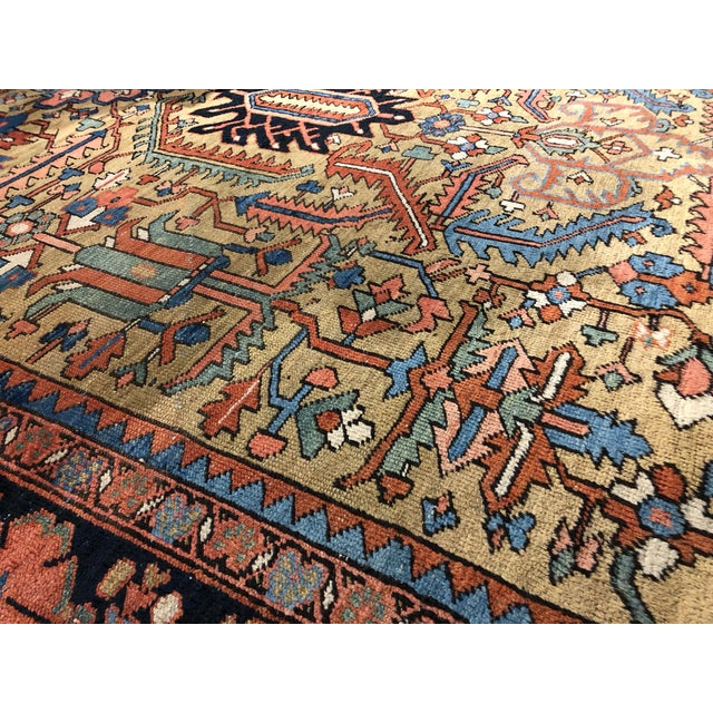 Boho Chic Colorful Vintage Persian Heriz Rug For Sale - Image 3 of 7