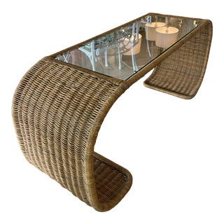 Vintage Wicker Scroll Ming New Glass Top Console Sofa Table For Sale