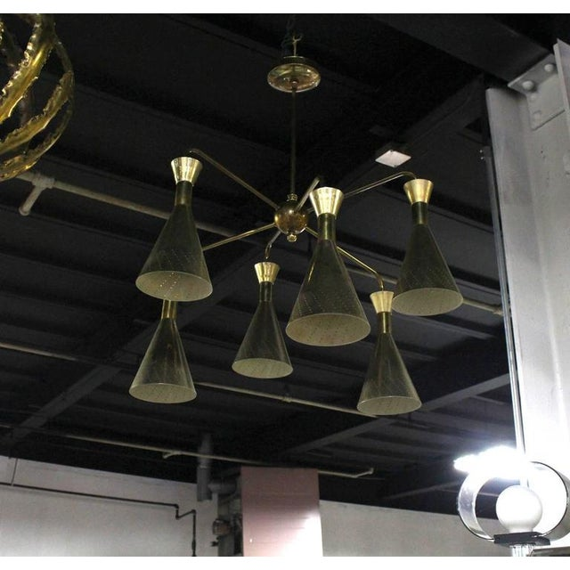 Brass Cone Shades Sputnik Style Chandelier For Sale - Image 7 of 9