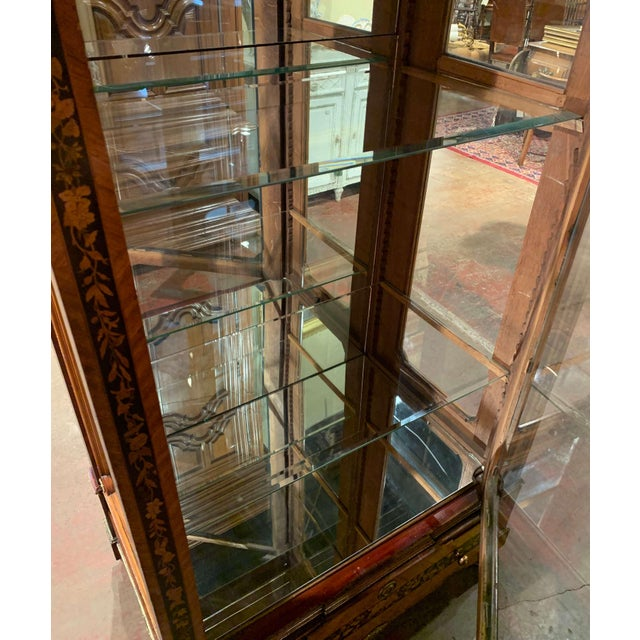 Metal 19th Century French Louis XVI Walnut Marquetry Vitrine With Glass Sides and Door For Sale - Image 7 of 13