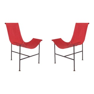 1970s Iron & Leather Sling Chairs After Giorgio Belloli - a Pair For Sale