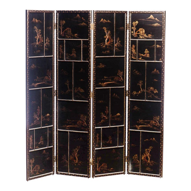 Japanese Large Four-Panel Landscape Scenes With Individual Raised Frames Screen/Room Divider 6 Ft W X 6.5 Ft H by Lawrence & Scott For Sale