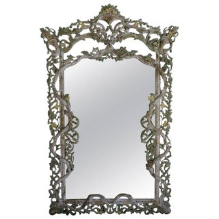 Monumental Carved Italian Painted Mirror $5,800 For Sale