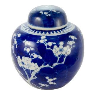 Antique Blue & White Prunus Blossom Jar For Sale