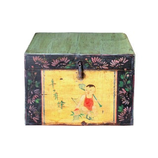 Chinese Vintage Green Black Graphic Theme Trunk Box Chest For Sale