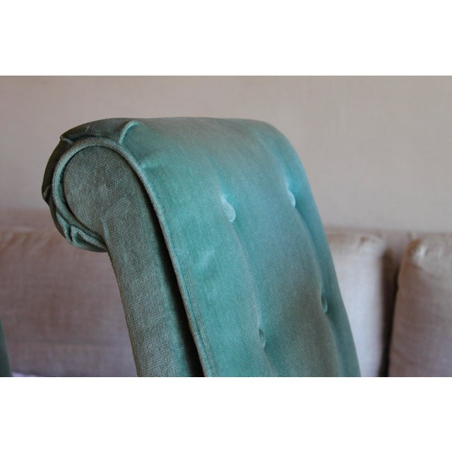 1970s Mid Century Modern Tufted Teal Green Velvet Parsons Dining Chairs Milo Baughman Style - Set of 4 For Sale - Image 11 of 13
