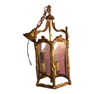 Antique Louis XV Bronze Ormolu Lantern . Rococo Elegance , Late 19th Century France . Gold on Bronze , Paris For Sale