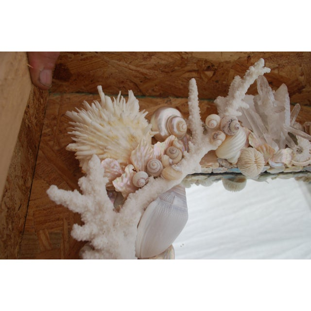 Not Yet Made - Made To Order Custom White Seashell and Coral Mirror For Sale - Image 5 of 9