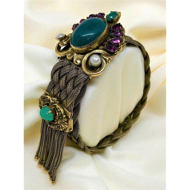 1940s 1940s Victorian Revival Goldtone Jeweled Tassel Bracelet For Sale - Image 5 of 9
