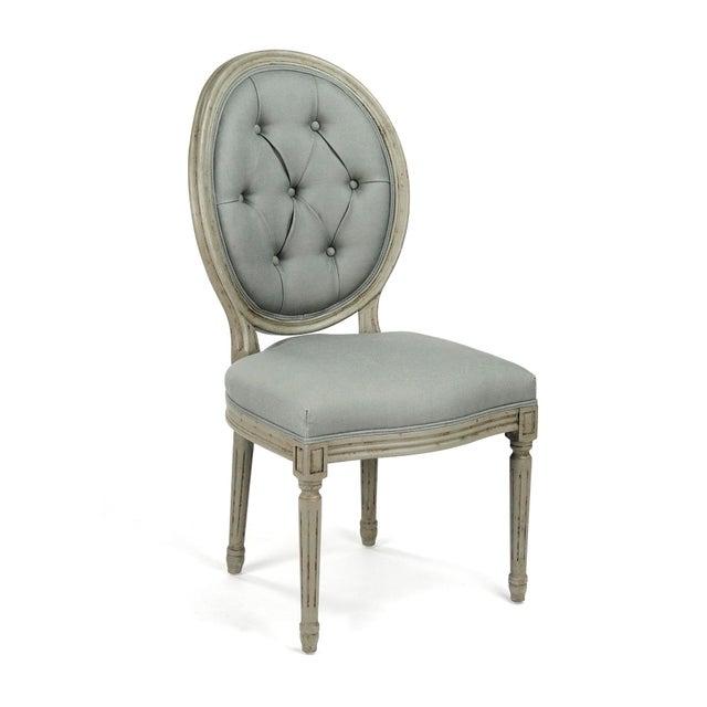 Everest Medallion Tufted Back Side Chair in Sage Linen For Sale In Atlanta - Image 6 of 6