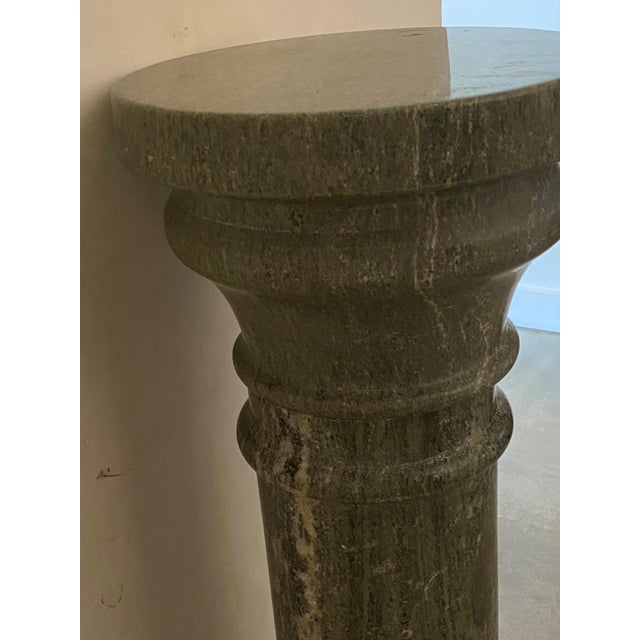 Stone Vintage 1920s Neoclassic Pedestal Green Marble For Sale - Image 7 of 12