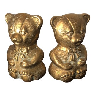 1970s Children's Brass Teddy Bear Nursery Bookends - a Pair