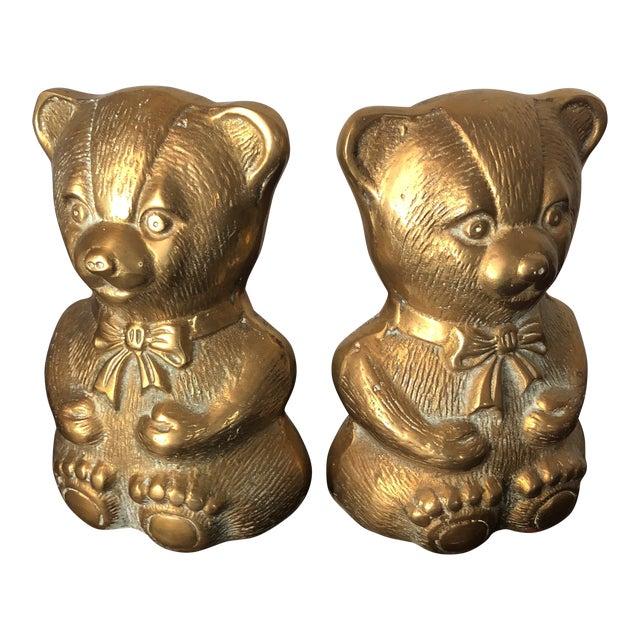 1970s Children's Brass Teddy Bear Nursery Bookends - a Pair