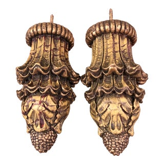 Vintage Ornate Curtain Rod Finials - a Pair For Sale