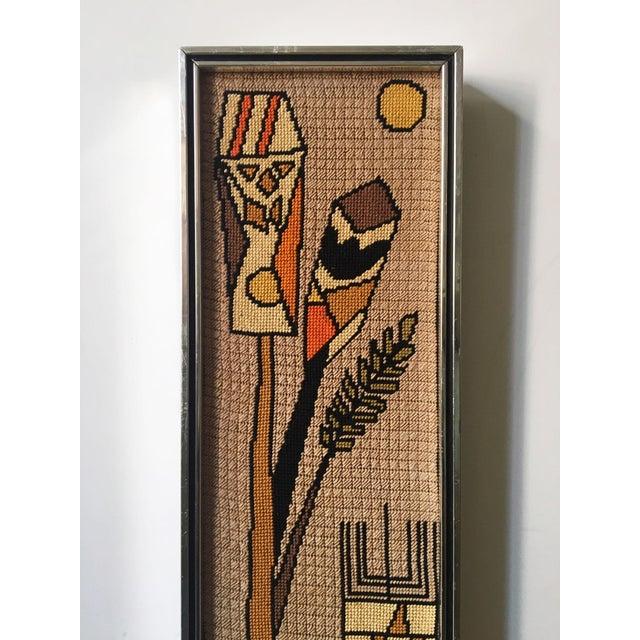 Mid-Century Modern Vintage Framed Judaica Needlepoint Art For Sale - Image 3 of 8